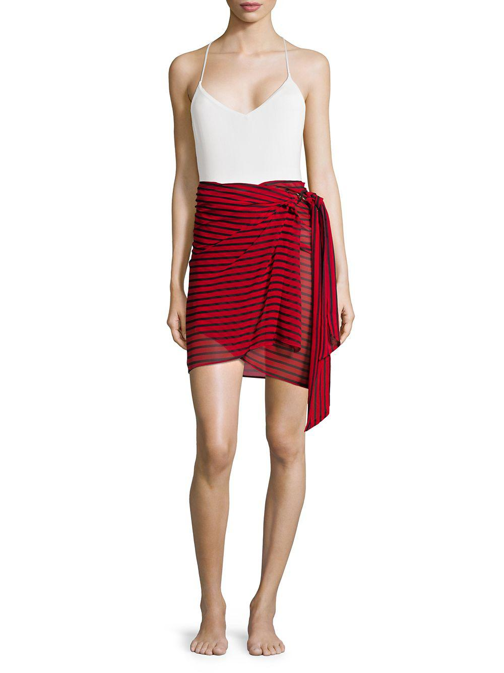 6a85b19416f8 Lyst - Michael Michael Kors Striped Sarong Cover Up in Red