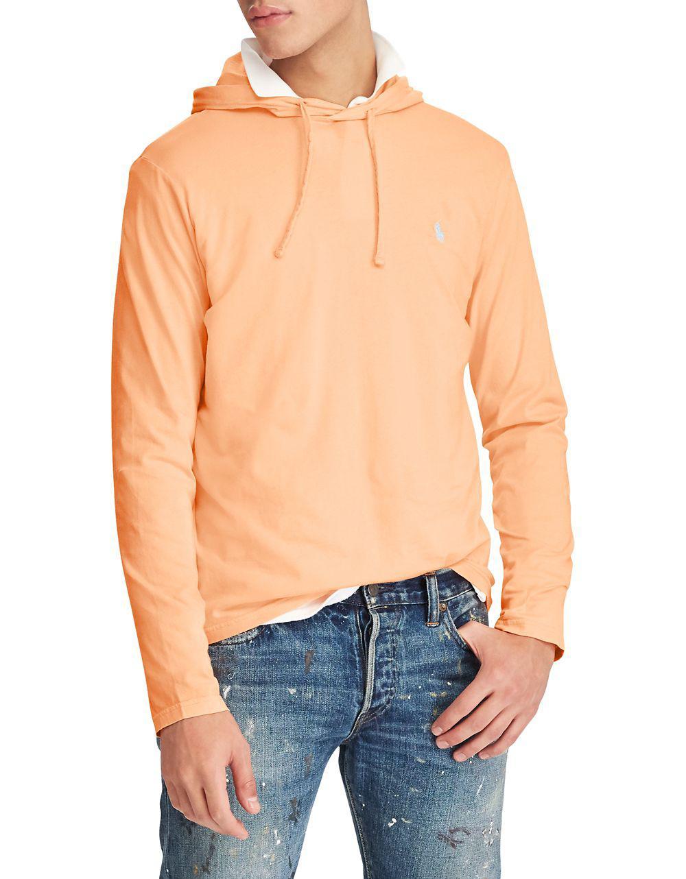 ... polo ralph lauren. mens orange weathered cotton hoodie