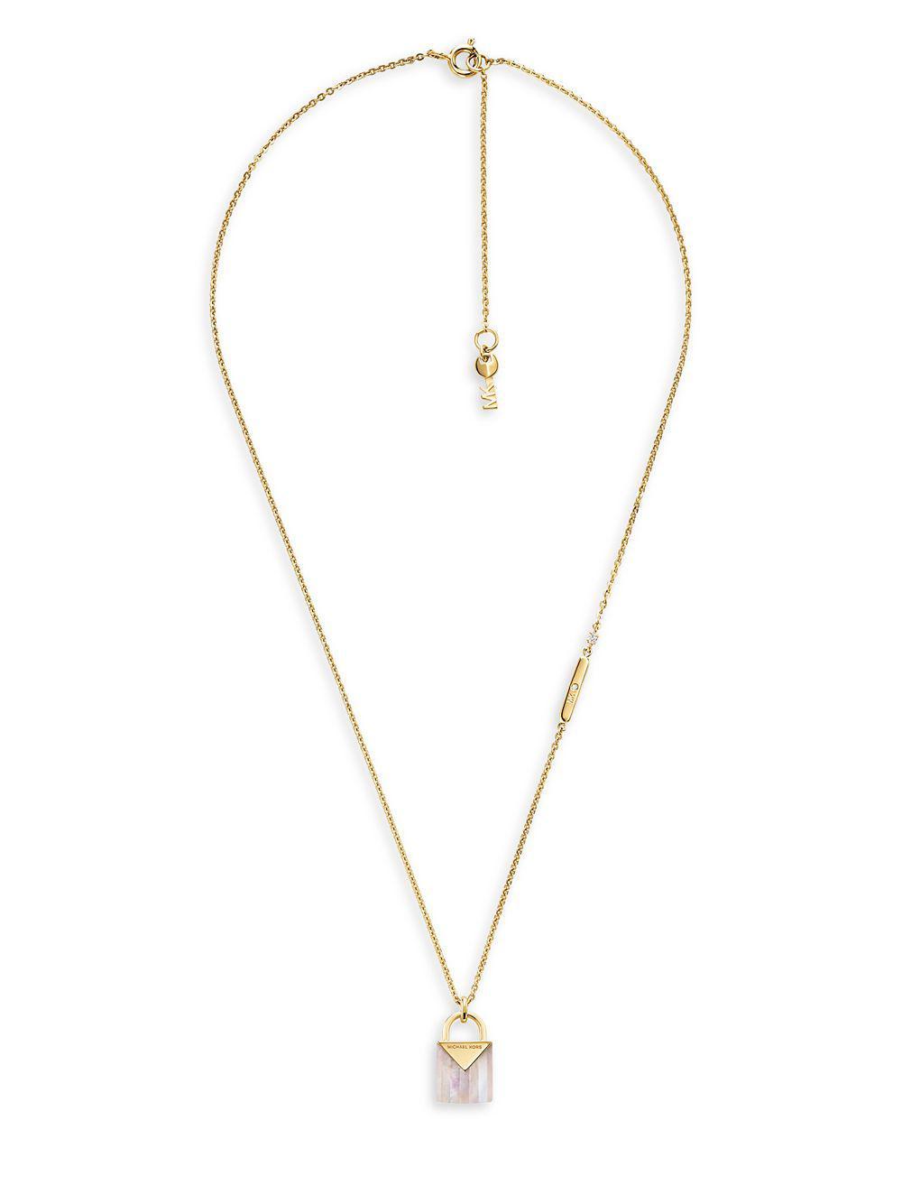 172ac62c49c3b Lyst - Michael Kors Kors Color Mercer Mother Of Pearl Padlock Pendant  Necklace in Metallic
