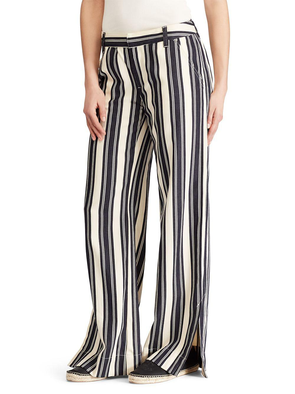 e4b225847 Lyst - Lauren By Ralph Lauren Striped Vented Wide-leg Pants in Black