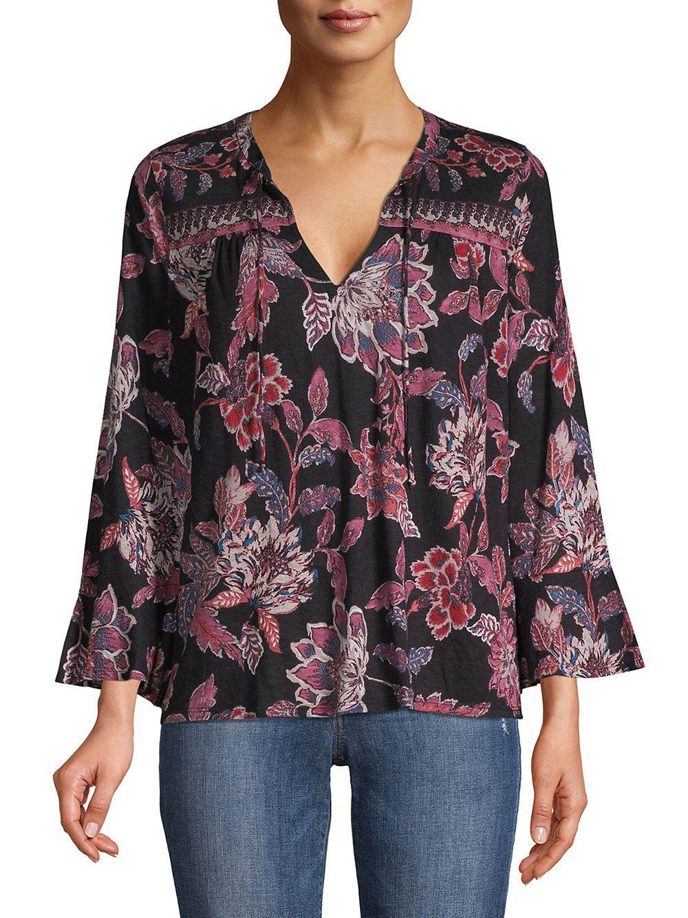a68efa7e014a4d Lucky Brand. Women s Floral Bell-sleeve Top