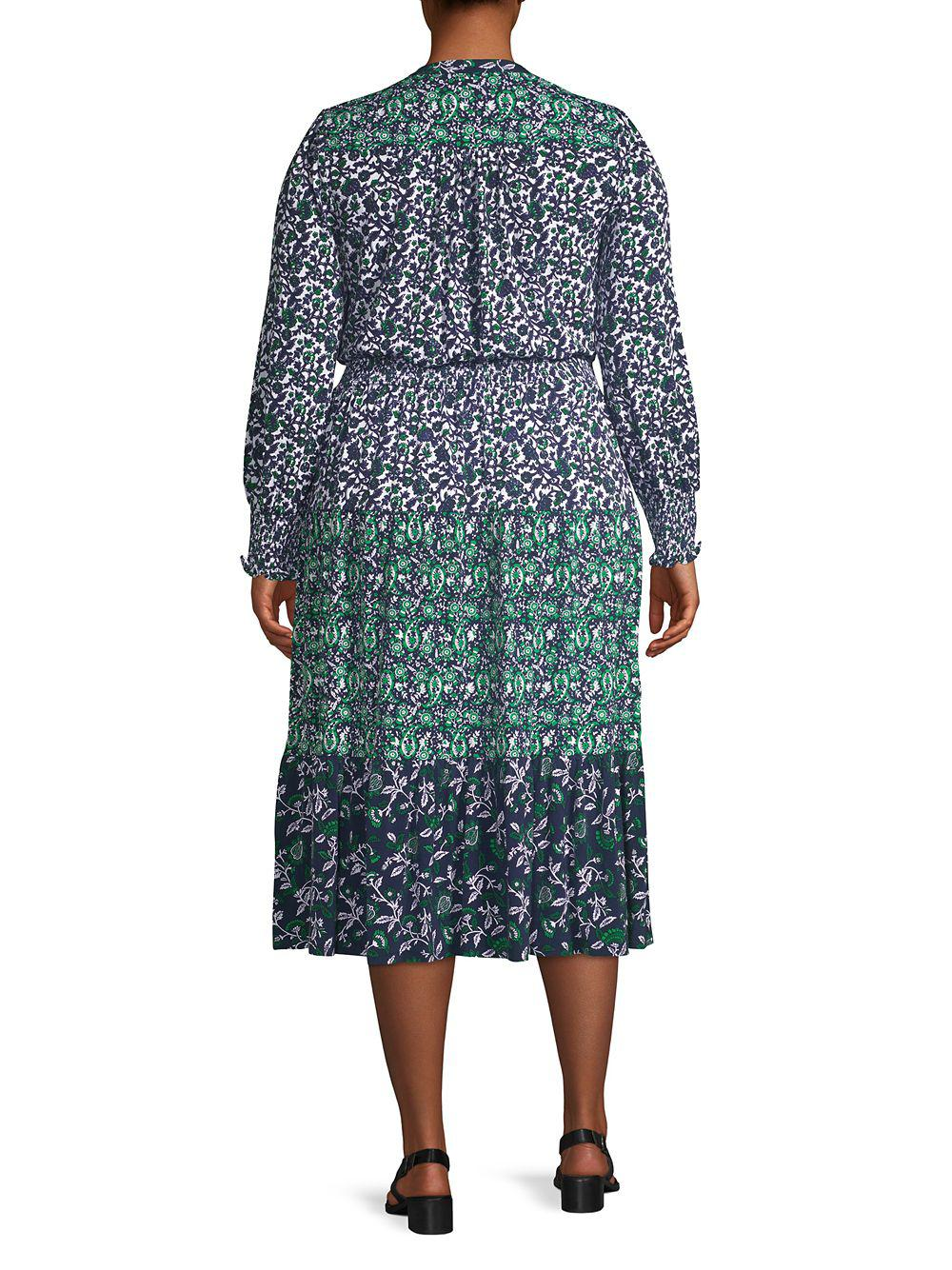 c1f6e3602a7 MICHAEL Michael Kors - Blue Plus Printed Long Sleeve Dress - Lyst. View  fullscreen