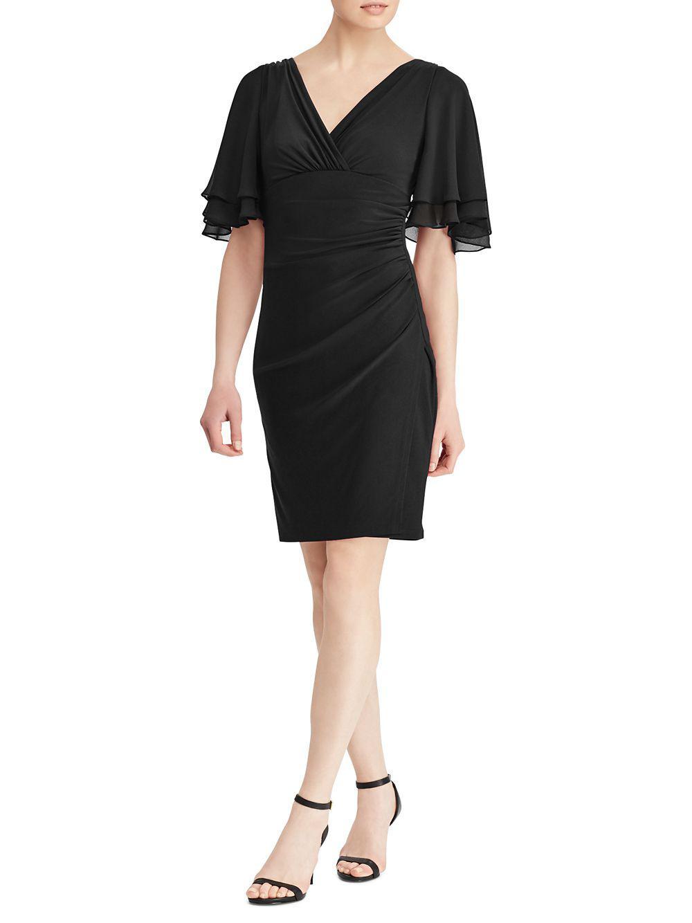 0139a230 Lyst - Lauren By Ralph Lauren Jersey Flutter-sleeve Dress in Black