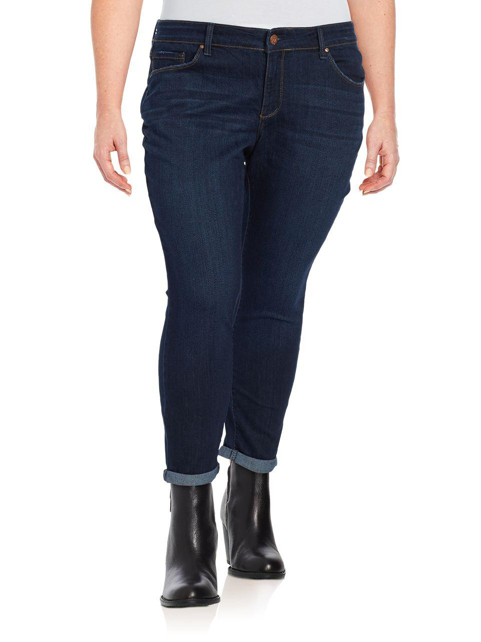 803ab8d85df Lyst - Jessica Simpson Plus Forever Rolled Skinny Jeans in Blue