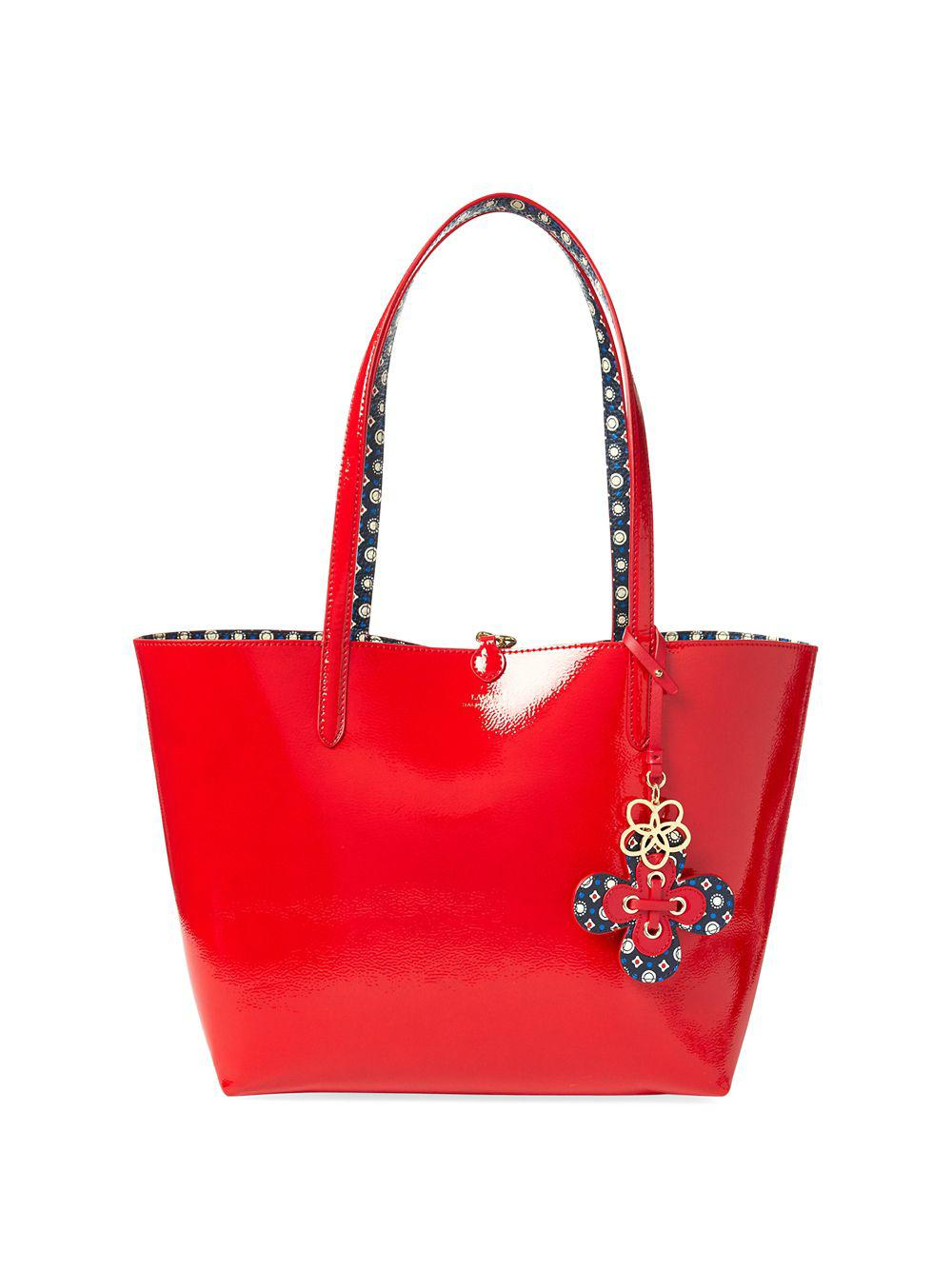 150de5a5a9 Lauren By Ralph Lauren Reversible Tote Bag In Red And Blue Geometric ...