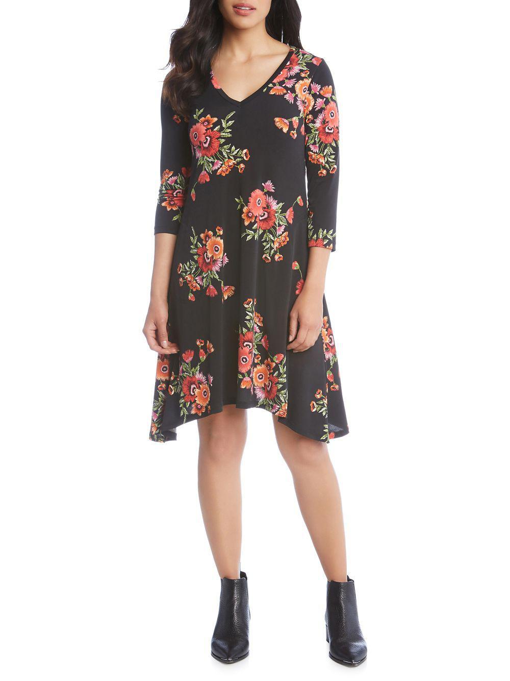 851ef34d872 Lyst - Karen Kane Hailey Floral A-line Dress in Black
