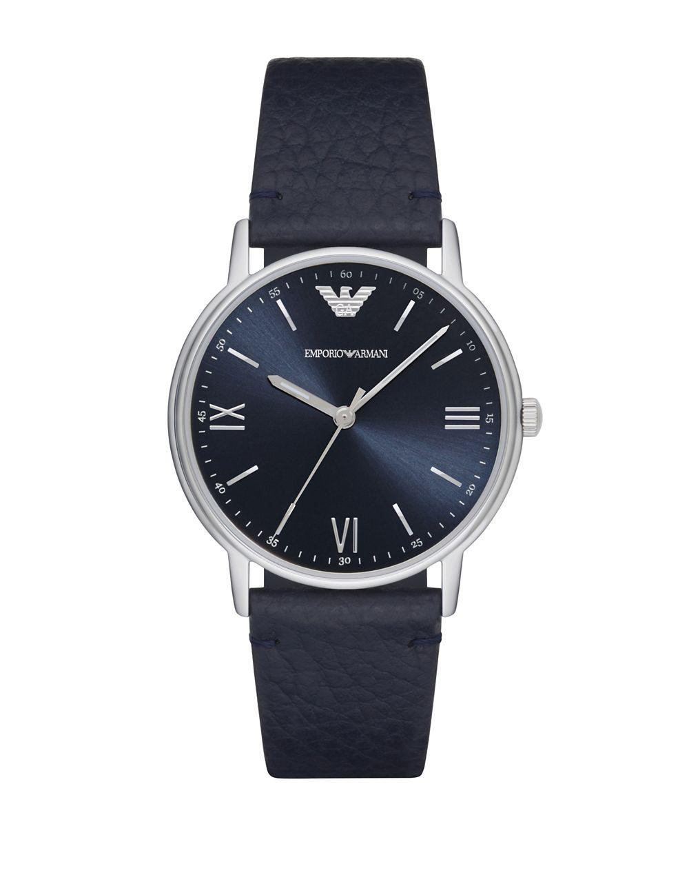 b6a11f3e5 Lyst - Emporio Armani Kappa Stainless Steel Leather-strap Watch in Blue