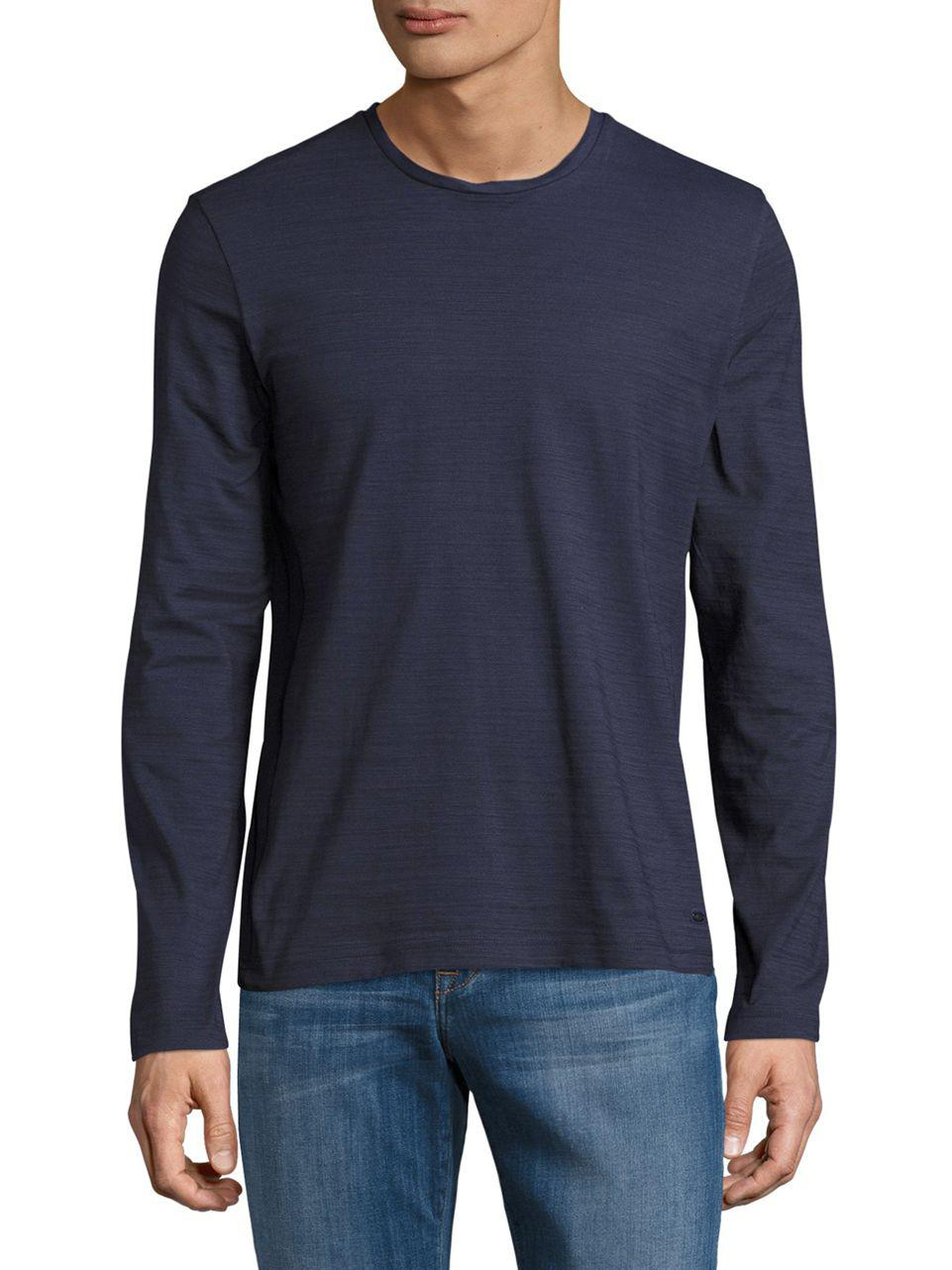 4c3a167ce Boss Textured Cotton Tee in Blue for Men - Lyst