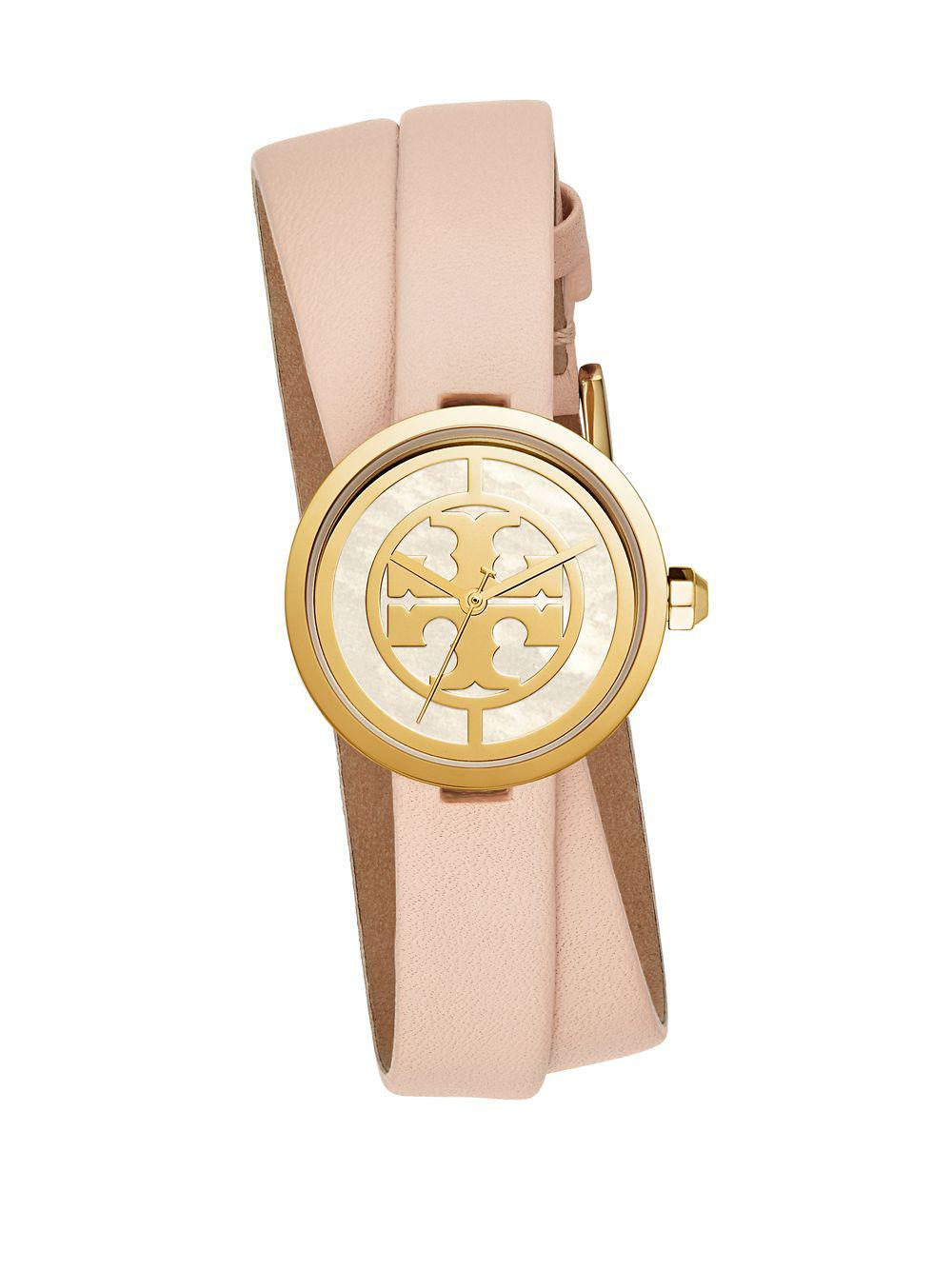 51f1dc6260f Tory Burch Reva Double Wrap Leather Strap Watch in Metallic - Lyst
