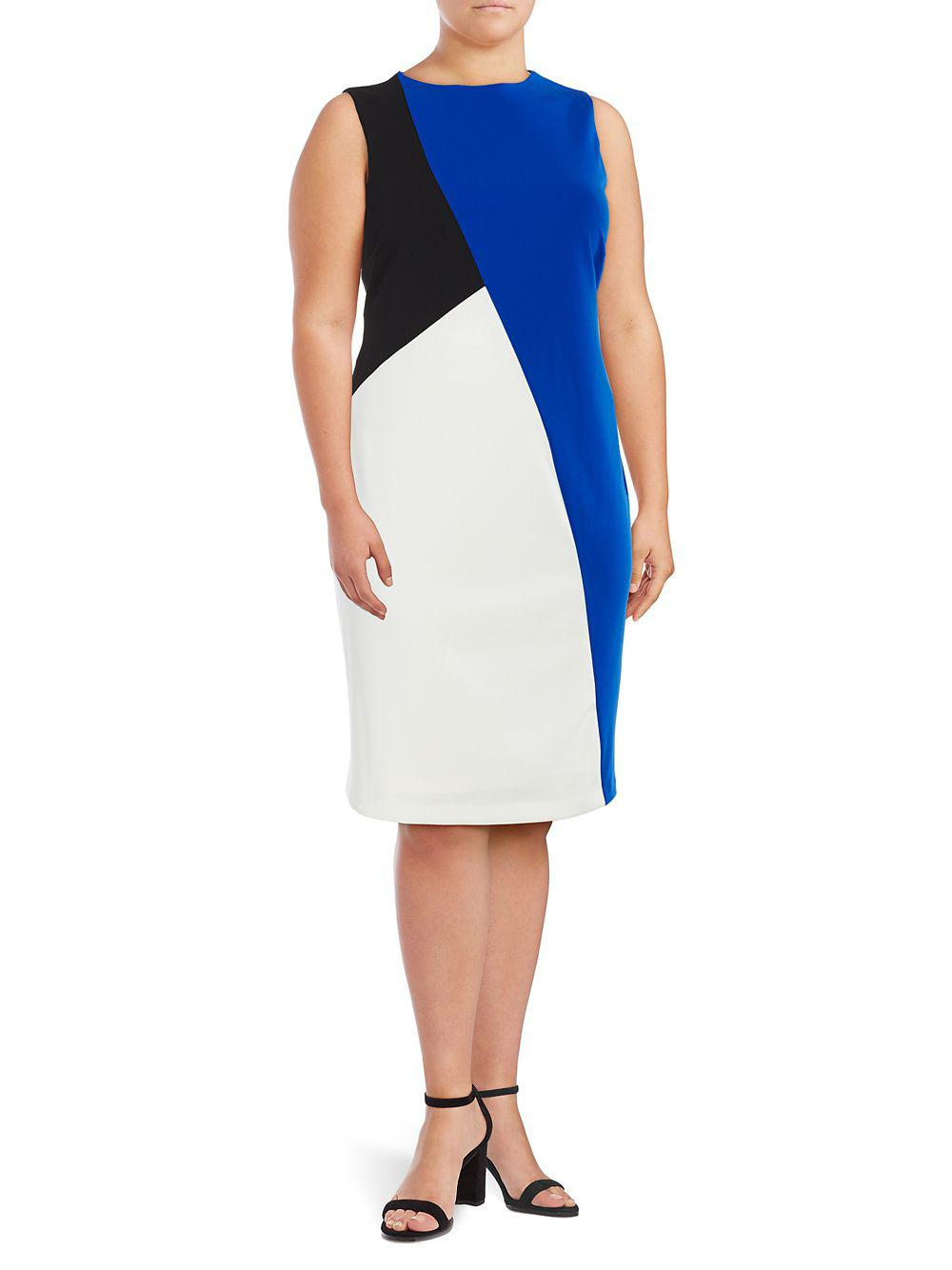 352e5ca621a Calvin Klein Plus Colorblock Sheath Dress in Black - Lyst