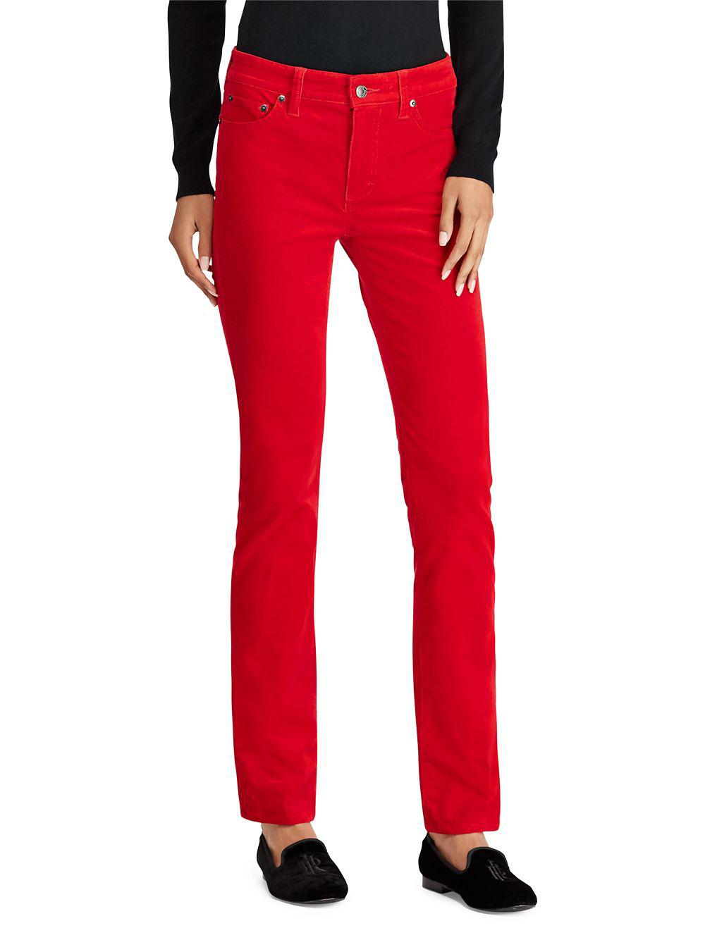 f17532ca4f78c Lyst - Lauren By Ralph Lauren Classic Slim-fit Jeans in Red