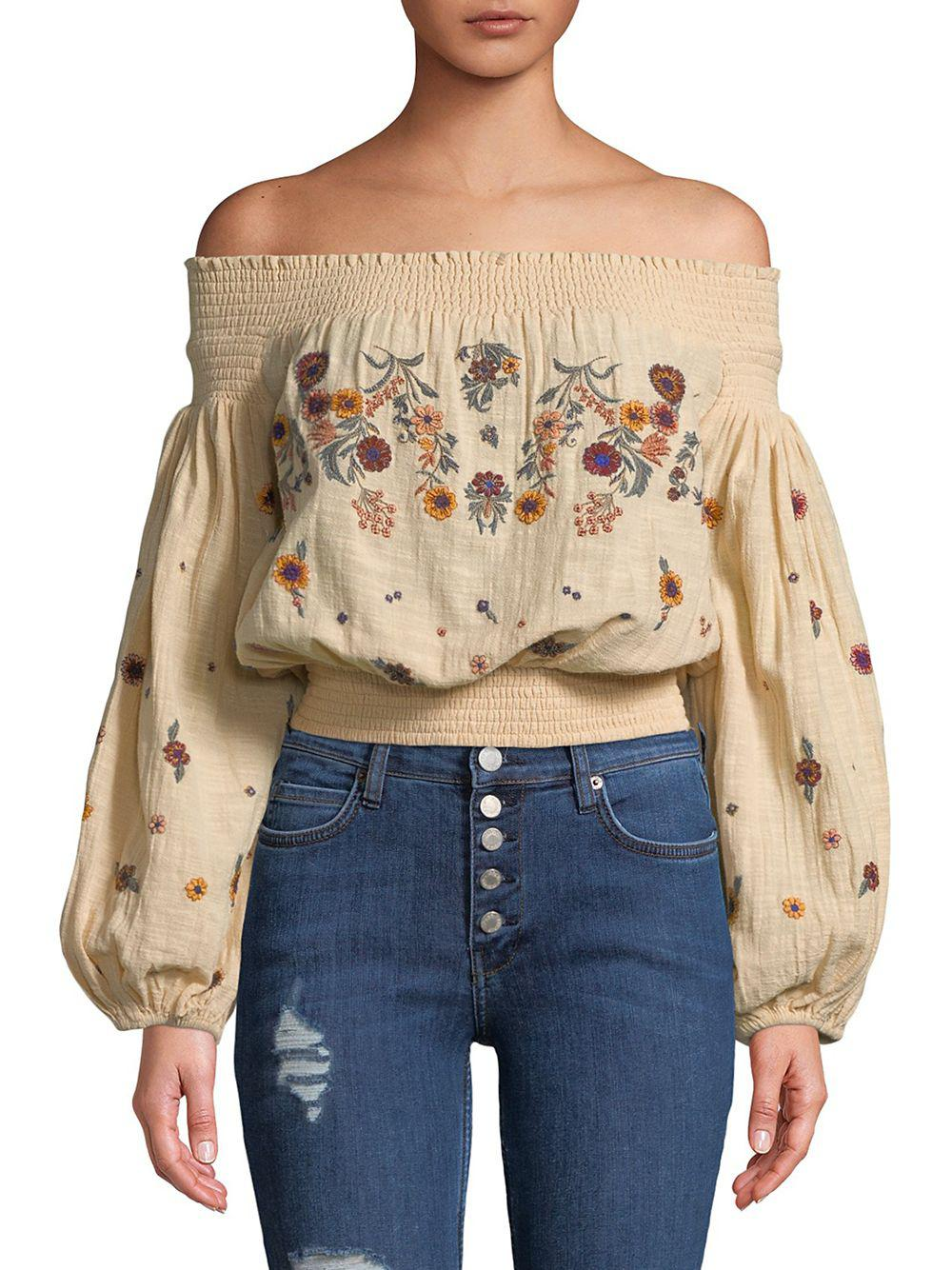 2e0ad669a104b Lyst - Free People Saachi Embroidered Smocked Top