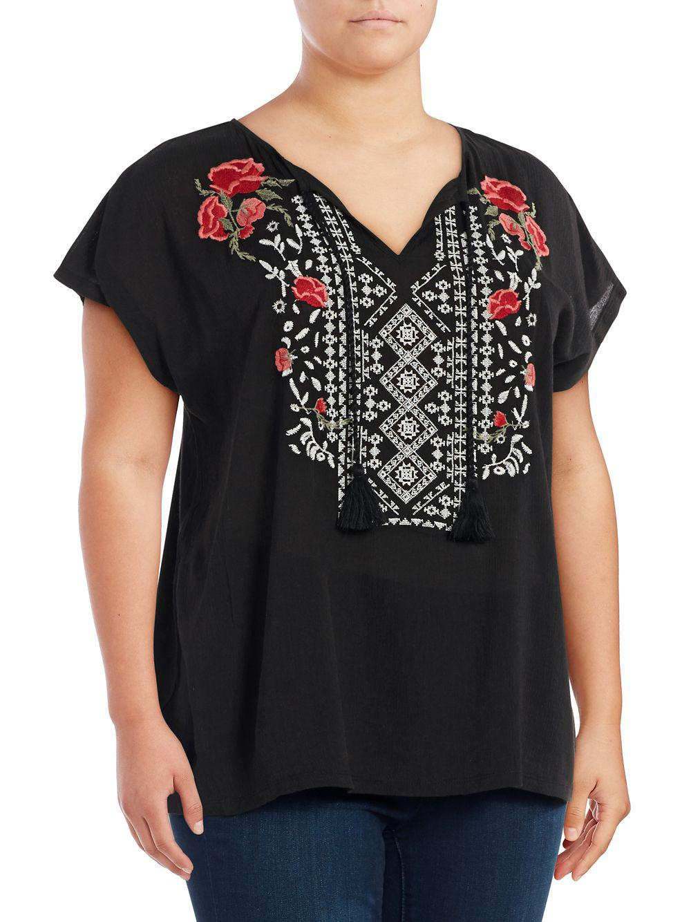 e8d6903841dc9 Jessica Simpson Plus Carmensita Embroidered Shirt in Black - Lyst