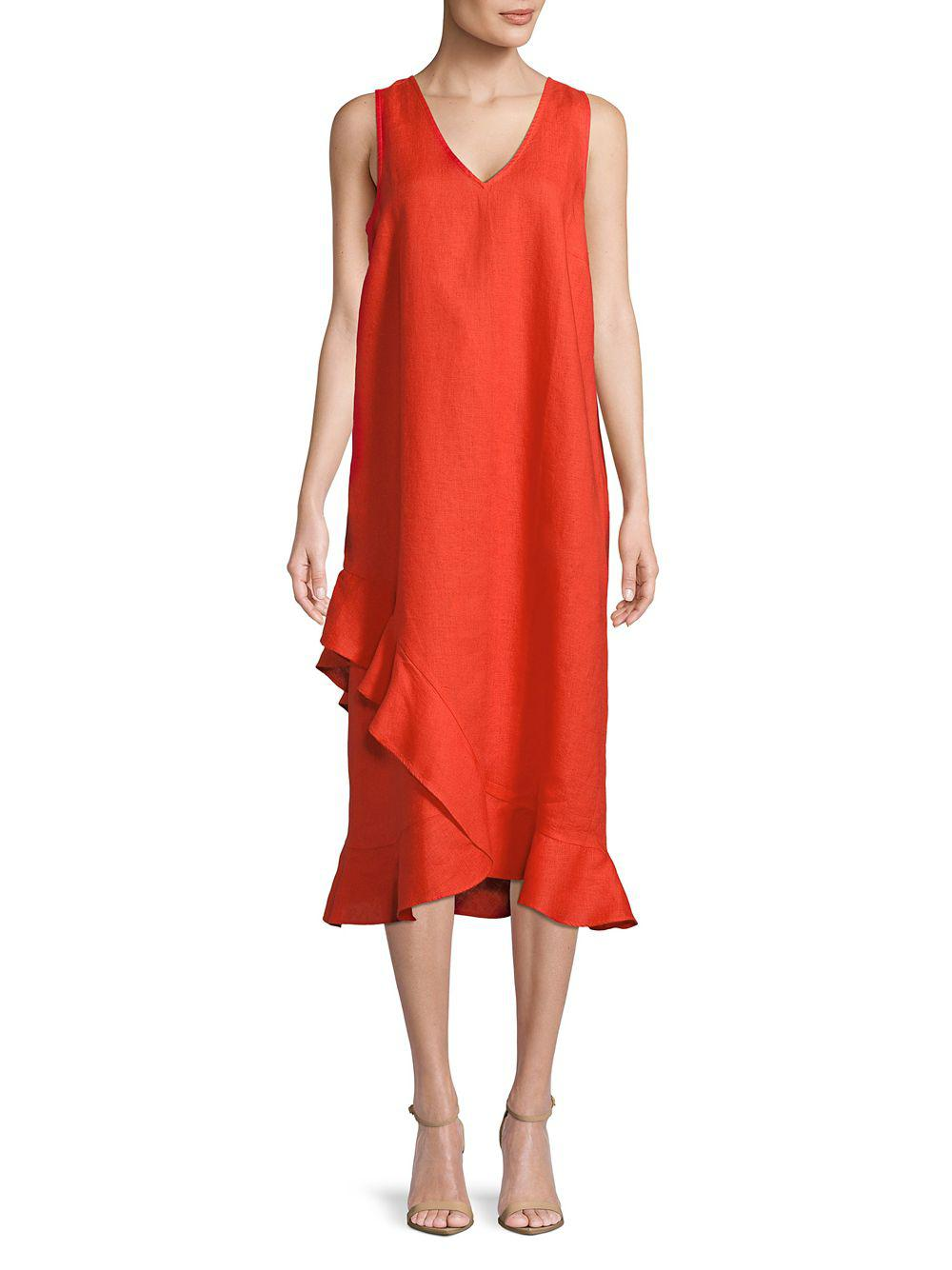 Lord Taylor Linen Asymmetric Ruffle Hem Dress In Red Save 10 0