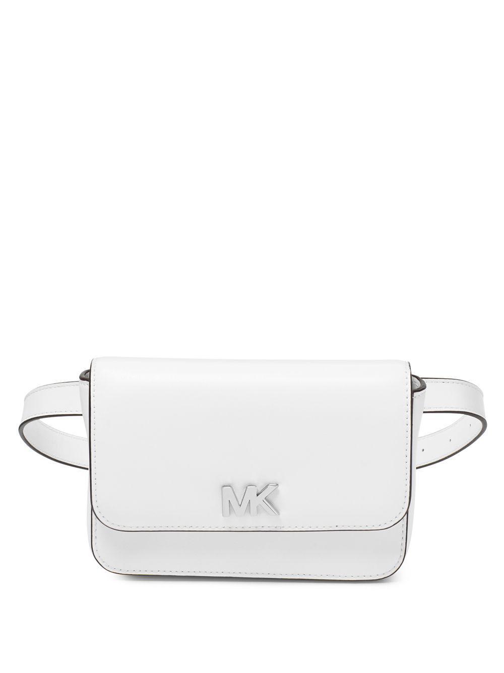 19c142630f4e Michael Michael Kors Mott Leather Belt Bag in White - Lyst