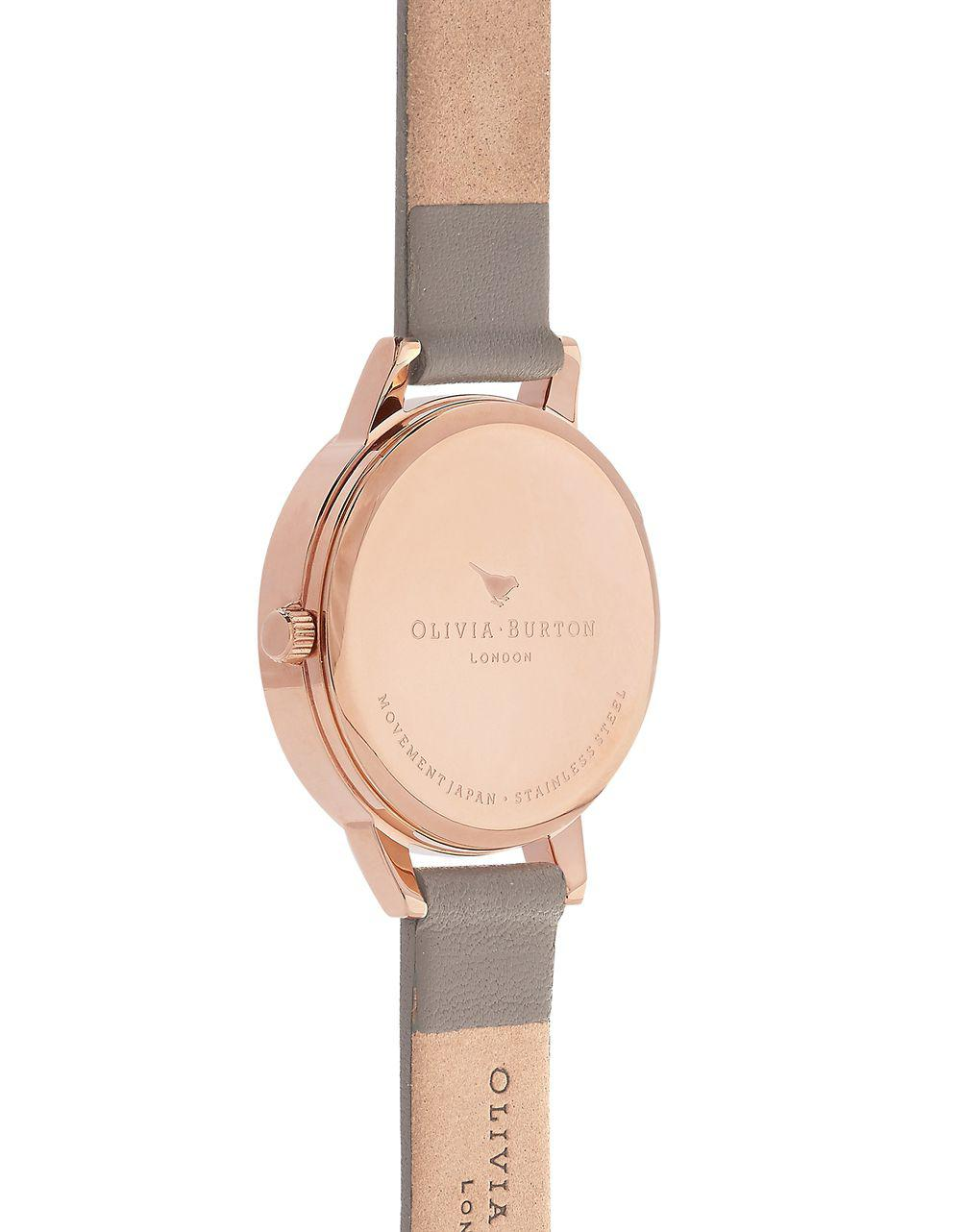 dfe6e9e4718 Olivia Burton Signature Florals Stainless Steel Leather Strap Watch in Gray  - Lyst