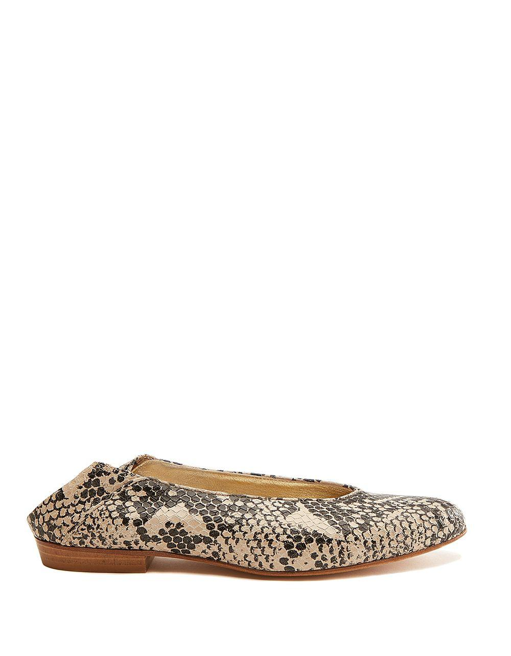 74c52e47c60 Lyst - Anne Klein Tillary Snake Print Leather Flats in Brown