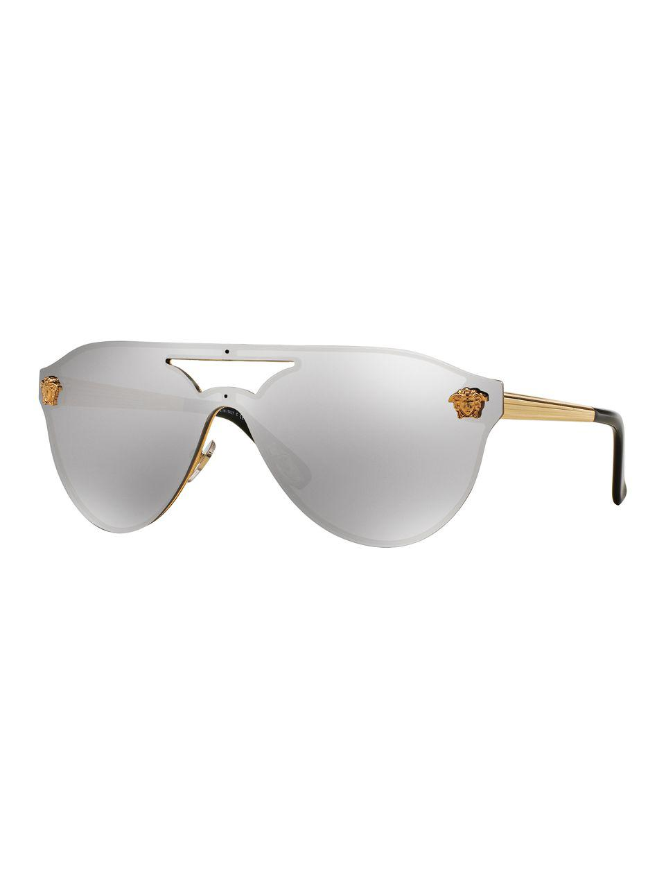 3621c296c9c1 Lyst - Versace 42mm Mirrored Pilot Sunglasses in Metallic - Save 5%