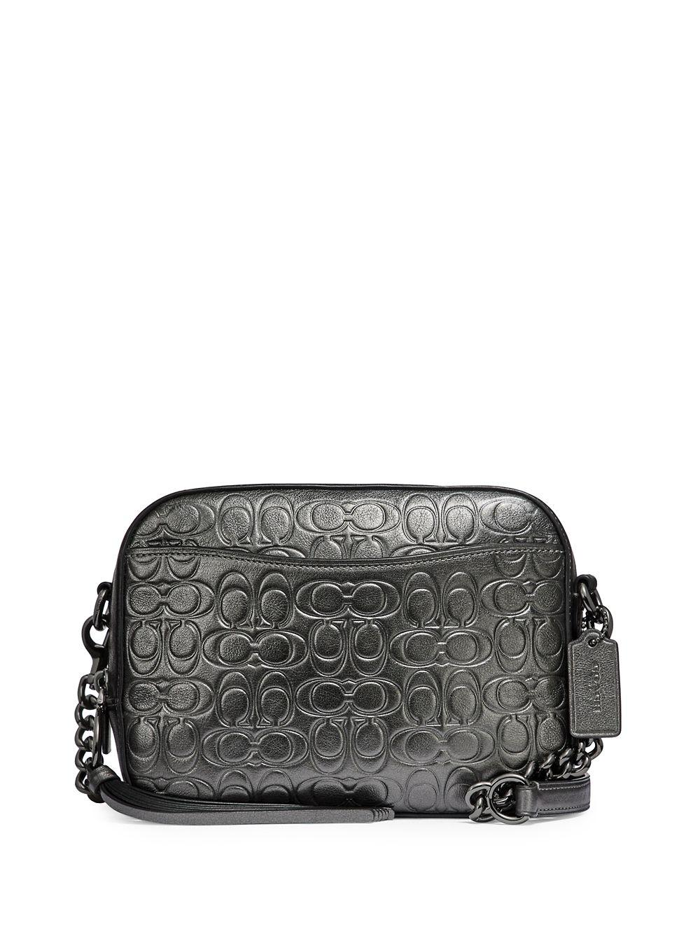 Lyst - Coach Signature Metallic Leather Camera Bag in Gray dfa7d99c3ded3
