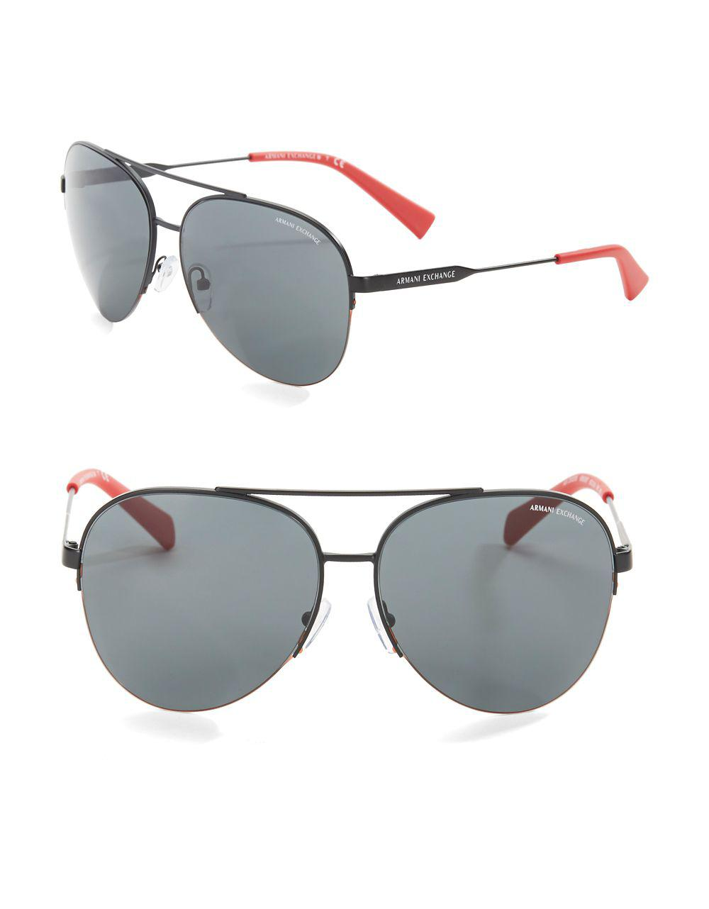 be56ede9fc1 Lyst - Armani Exchange 60mm Aviator Sunglasses for Men