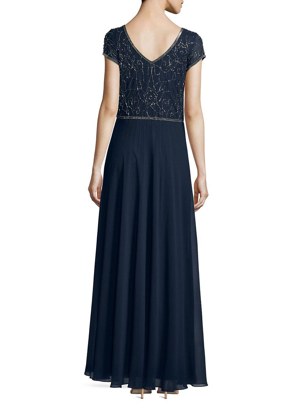 J Kara Petite Beaded Short-sleeve Gown