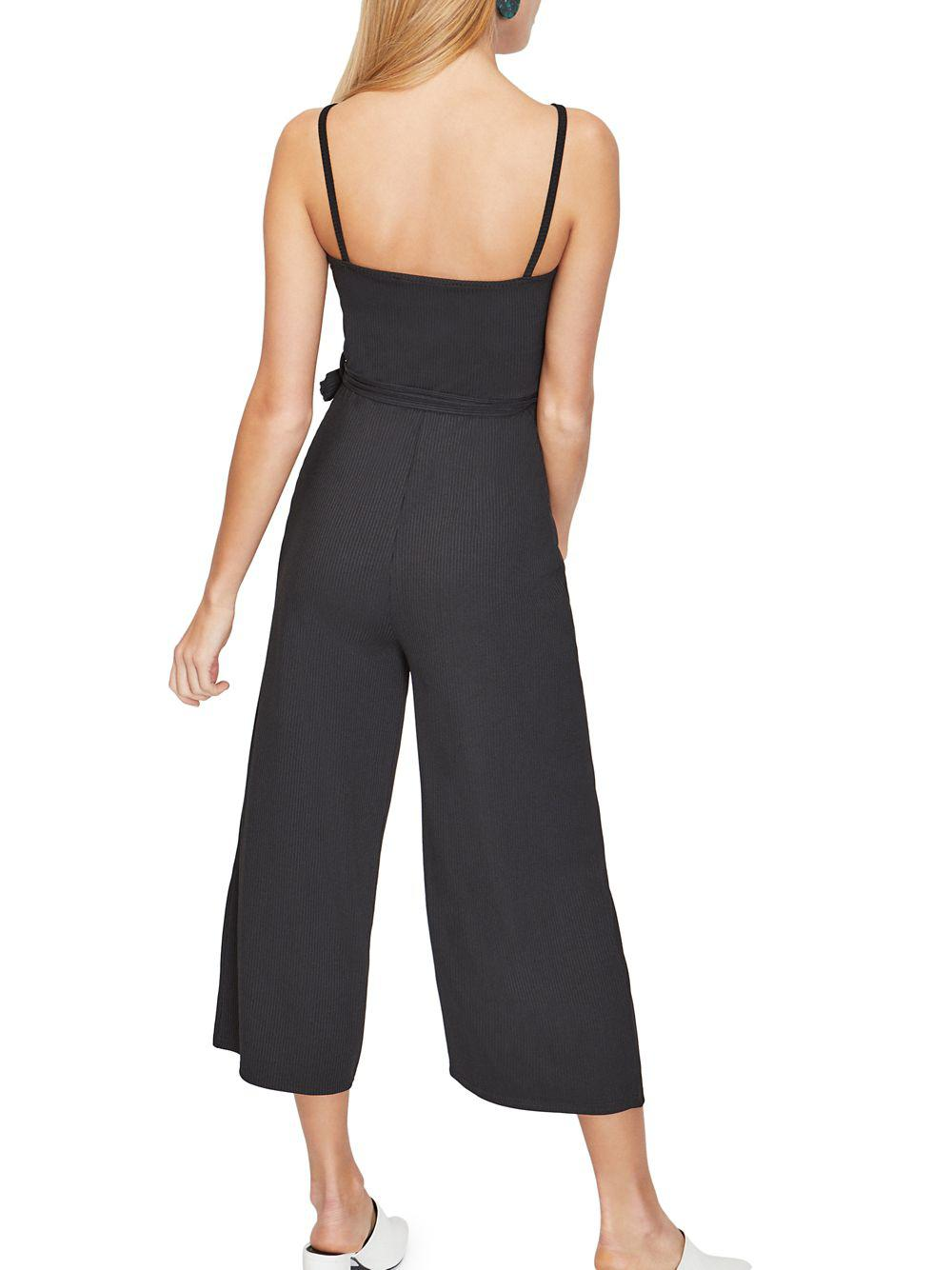 db8bf209db ... Black Faux Wrap Ribbed Self Tie Wide Leg Jumpsuit - Lyst. View  fullscreen