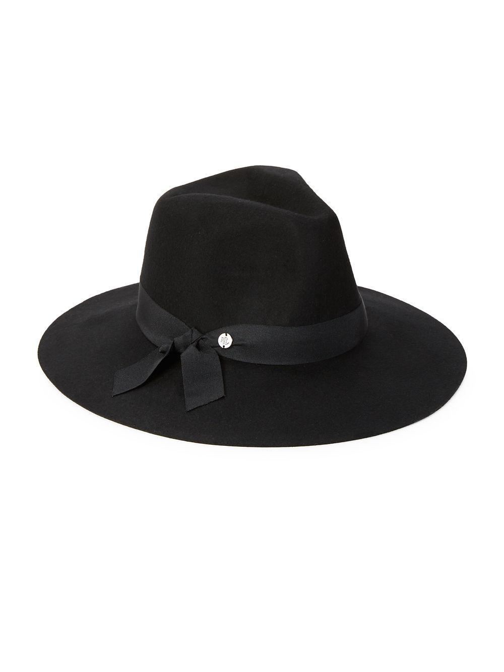 f0b64da8180 Lyst - Lauren By Ralph Lauren Wide-brim Wool Hat in Black