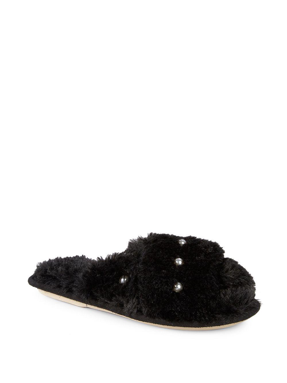 bf889aa4bae7 Kensie Embellished Faux Fur Slippers in Black - Lyst