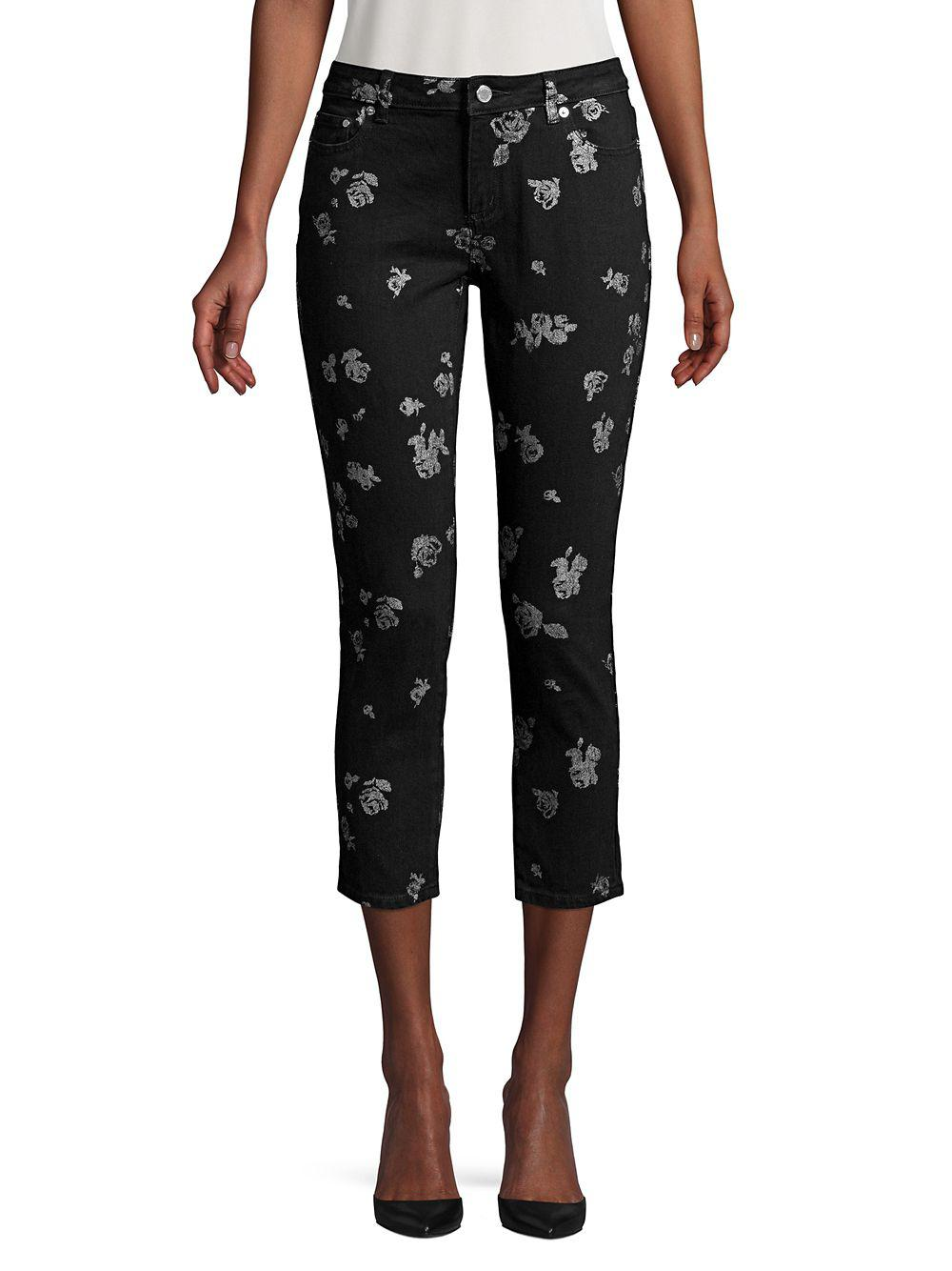 63fb3cab5ef96 Lyst - Michael Michael Kors Floral Cropped Jeans in Black