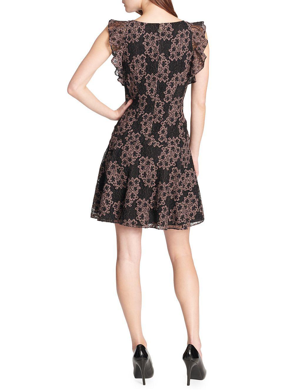 ff3c210d502 Tommy Hilfiger Floral Lace Flutter-sleeve Fit-&-flare Dress in Black - Lyst
