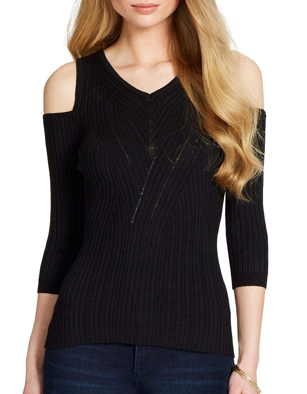 2be8b95ca12 Lyst - Jessica Simpson Cold-shoulder Sweater in Black