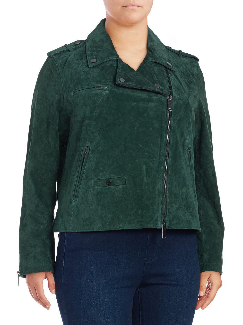 d1165a575e2 Rebel Wilson X Angels Plus Rebe s Suede Moto Jacket in Green - Lyst