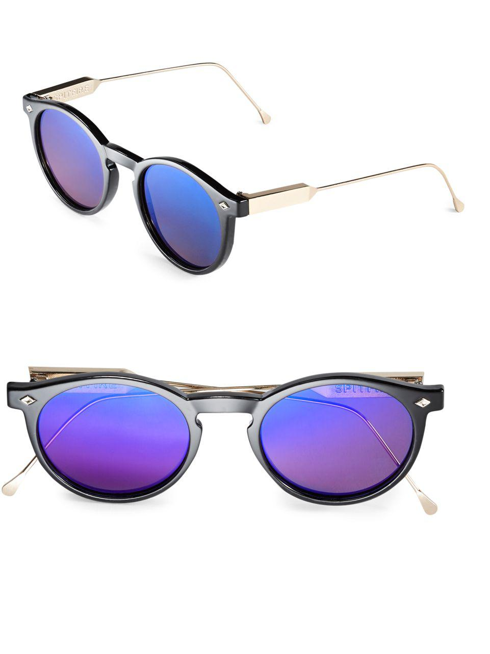 3f46769164 Lyst - Spitfire 54mm Flex Round Sunglasses in Blue