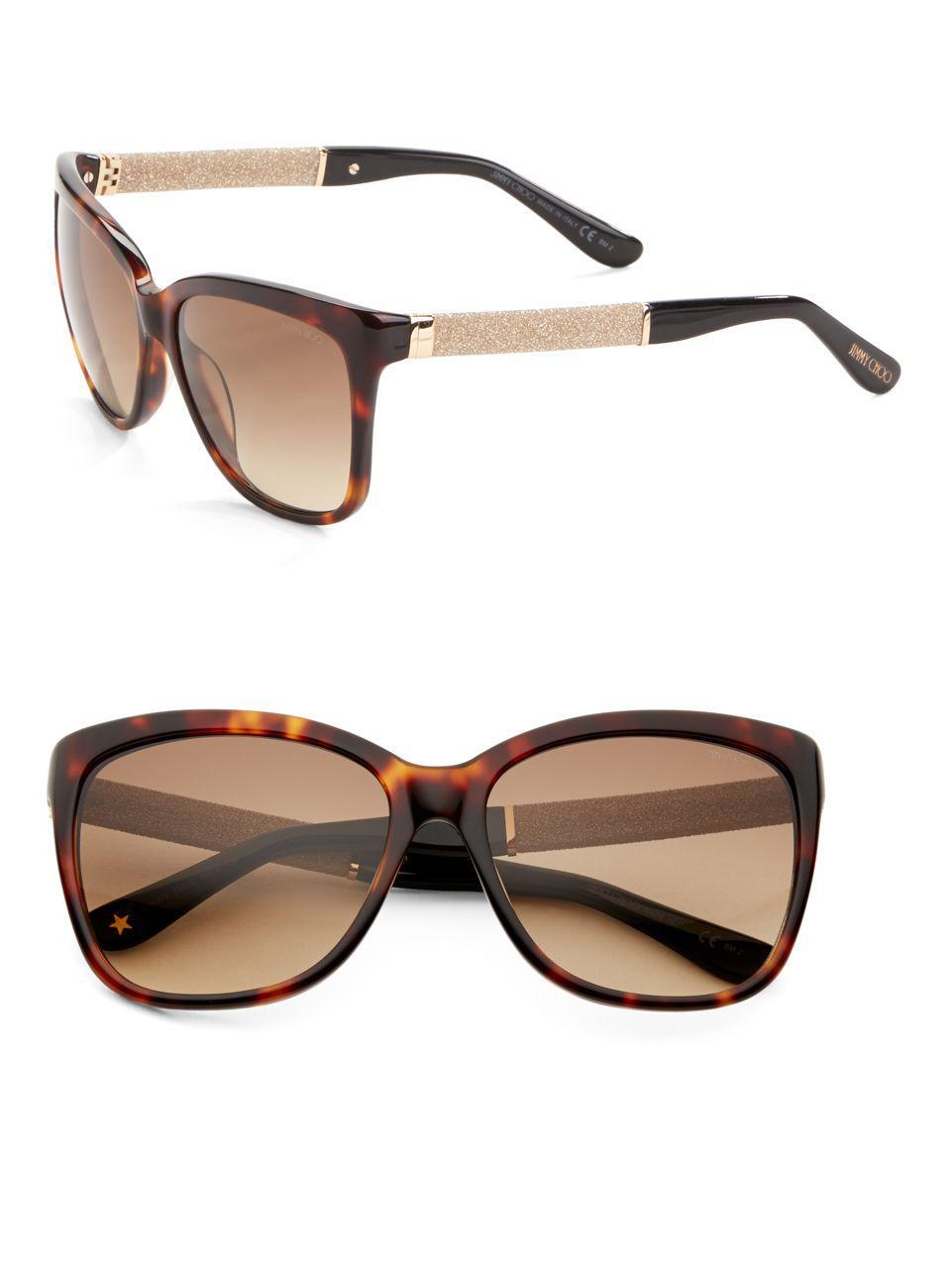 b7291dbdb51 Jimmy Choo Cora 56mm Square Sunglasses in Brown - Lyst