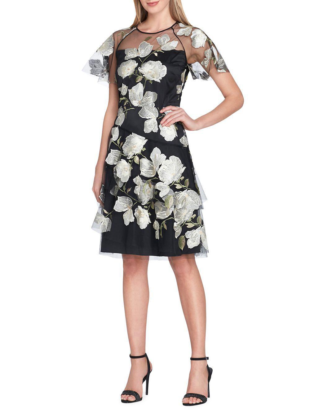 Lyst Tahari Floral Embroidered Mesh Short Sleeve Dress