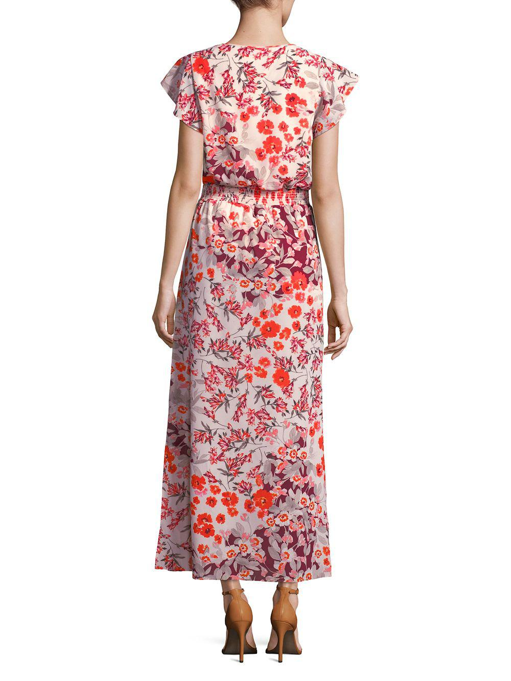 d77c1943c58 Adrianna Papell - Red Floral Flutter-sleeve Maxi Dress - Lyst. View  fullscreen