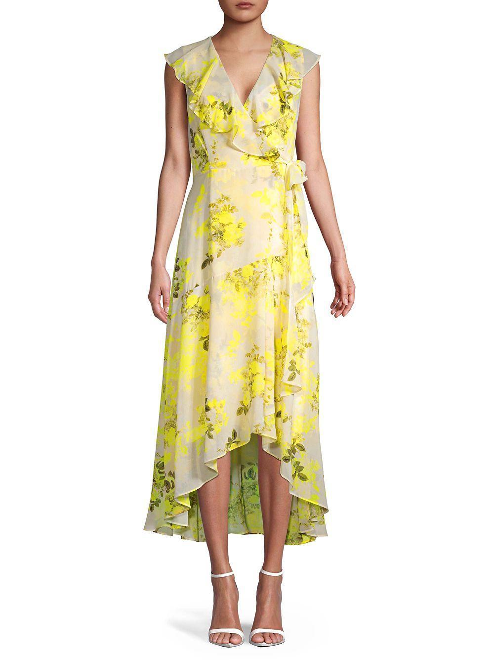 Calvin Klein Floral Midi Wrap Dress In Yellow Lyst