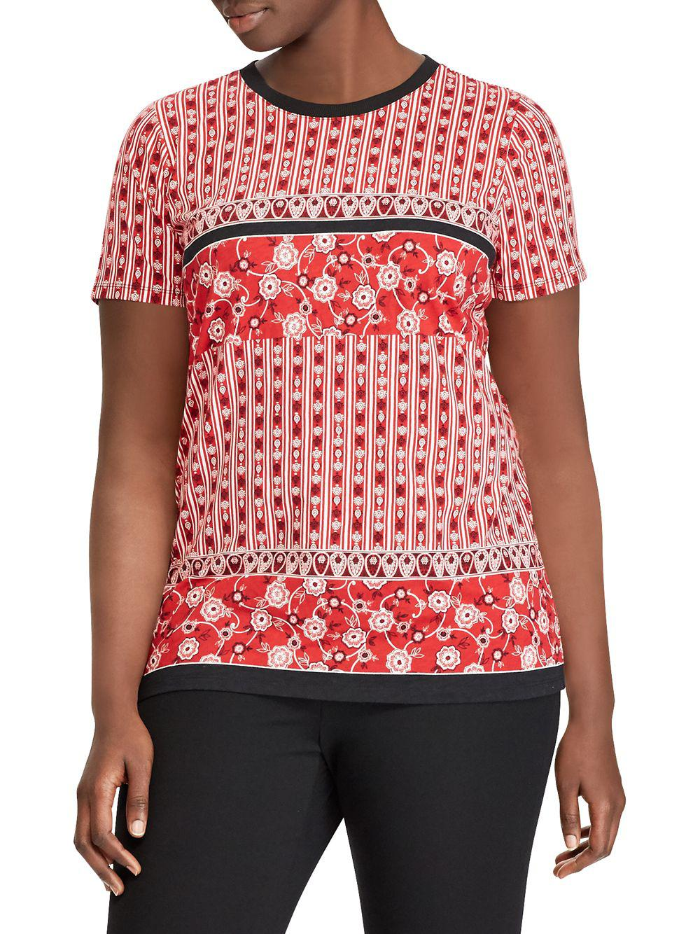 62c2db5d6881e Lyst - Lauren By Ralph Lauren Plus Printed T-shirt in Pink