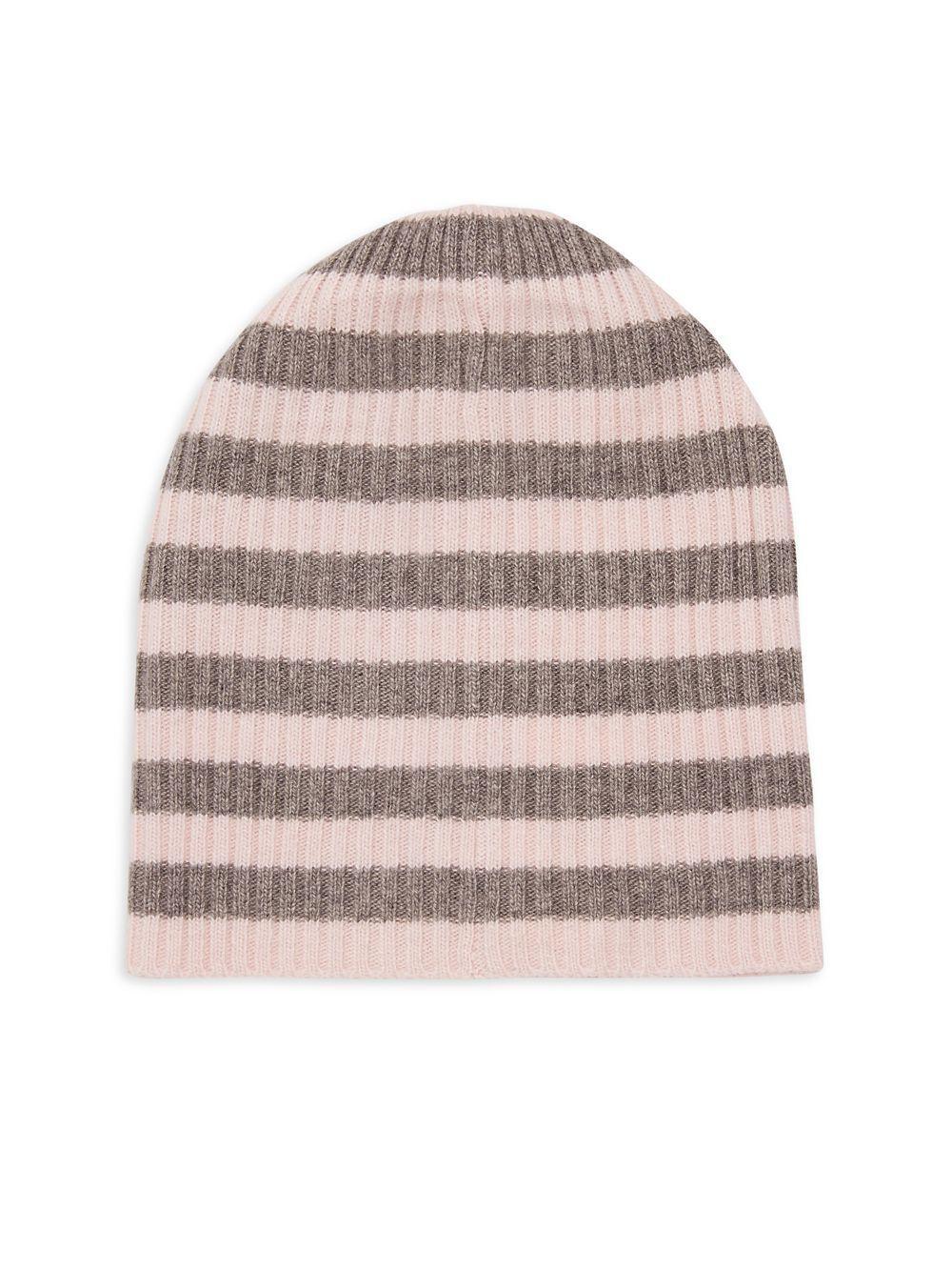 e4d4c84de79 Portolano Striped Cashmere-blend Beanie in Gray - Lyst