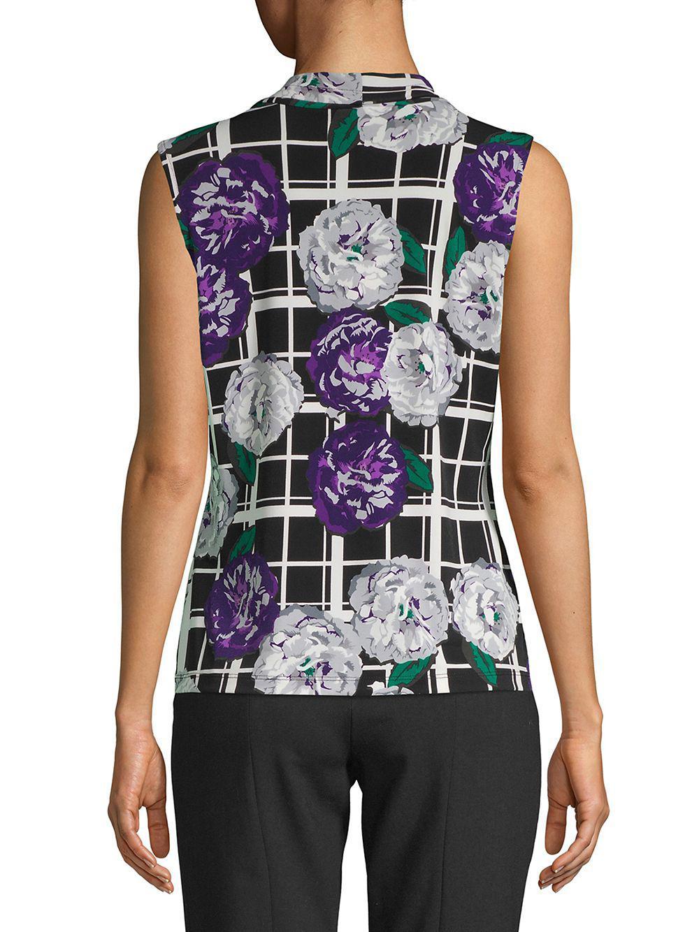 db36996e9ecf34 Calvin Klein Petite Floral V-neck Top in Purple - Lyst