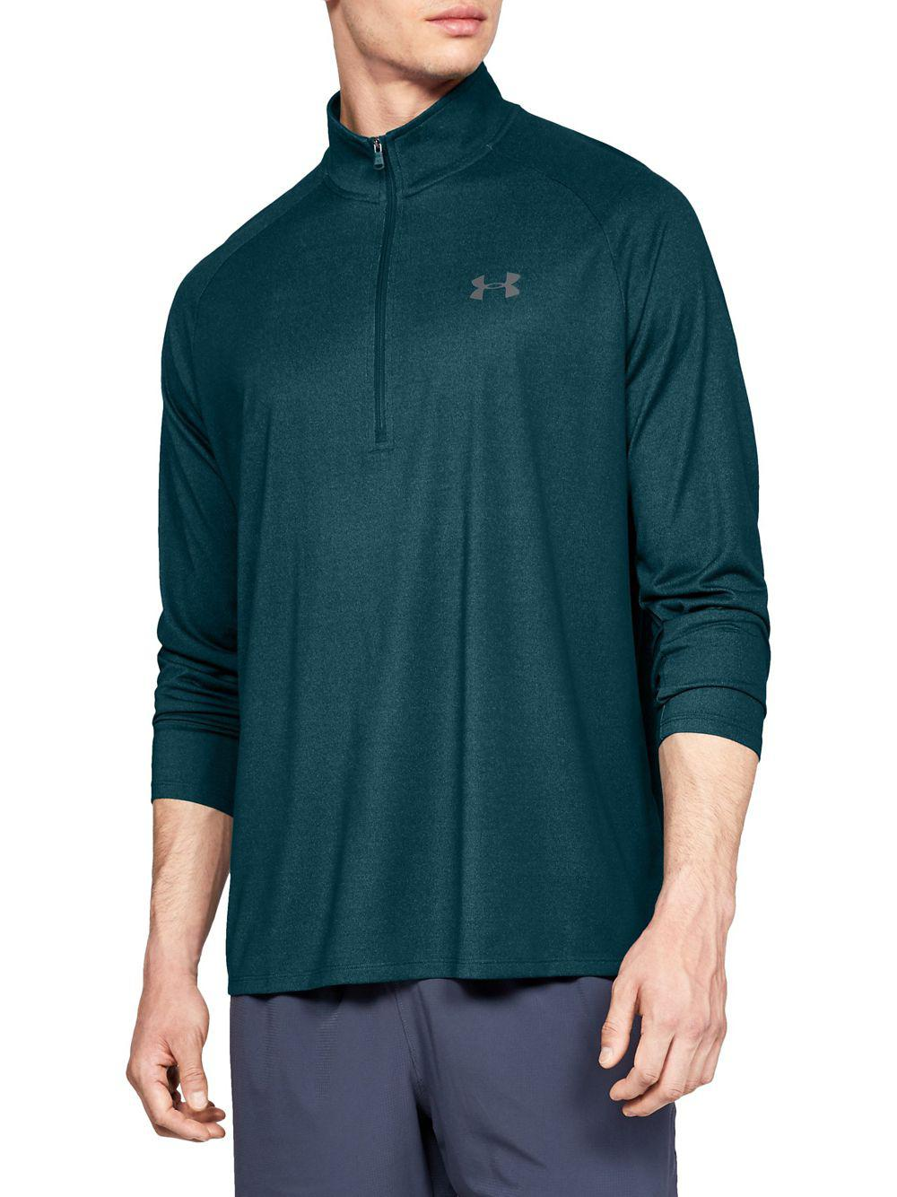 Under armour tech zip long sleeve sweatshirt in green for for Under armour men s ua tech quarter zip long sleeve shirt