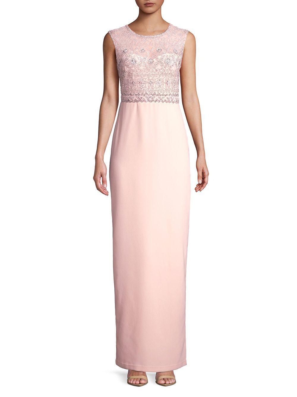 12021d45bedfa Lyst - Adrianna Papell Beaded Sleeveless Long Dress in Pink