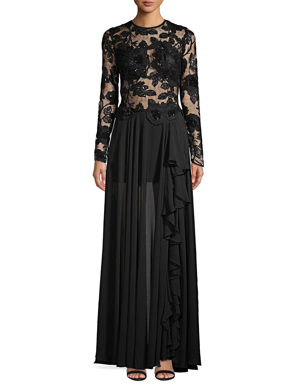 7b6c2729c085d Nicole Bakti Long Sleeve Floral Embroidered Gown in Black - Lyst