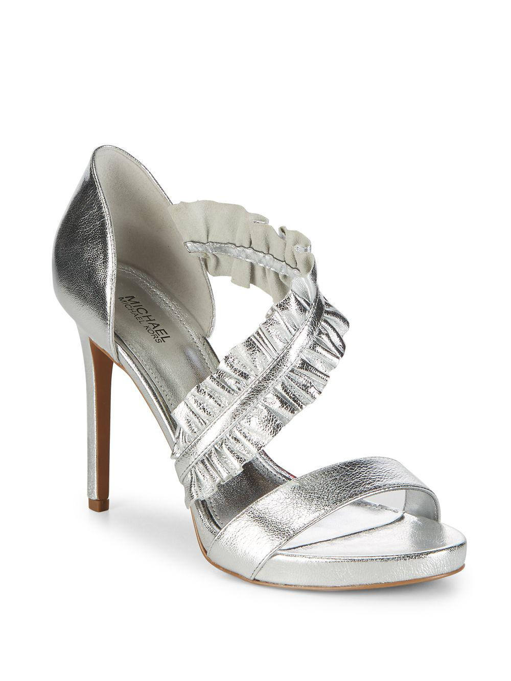 3e3a6ff2c138e Michael Michael Kors Bella Ruffle Metallic Leather Sandals in ...