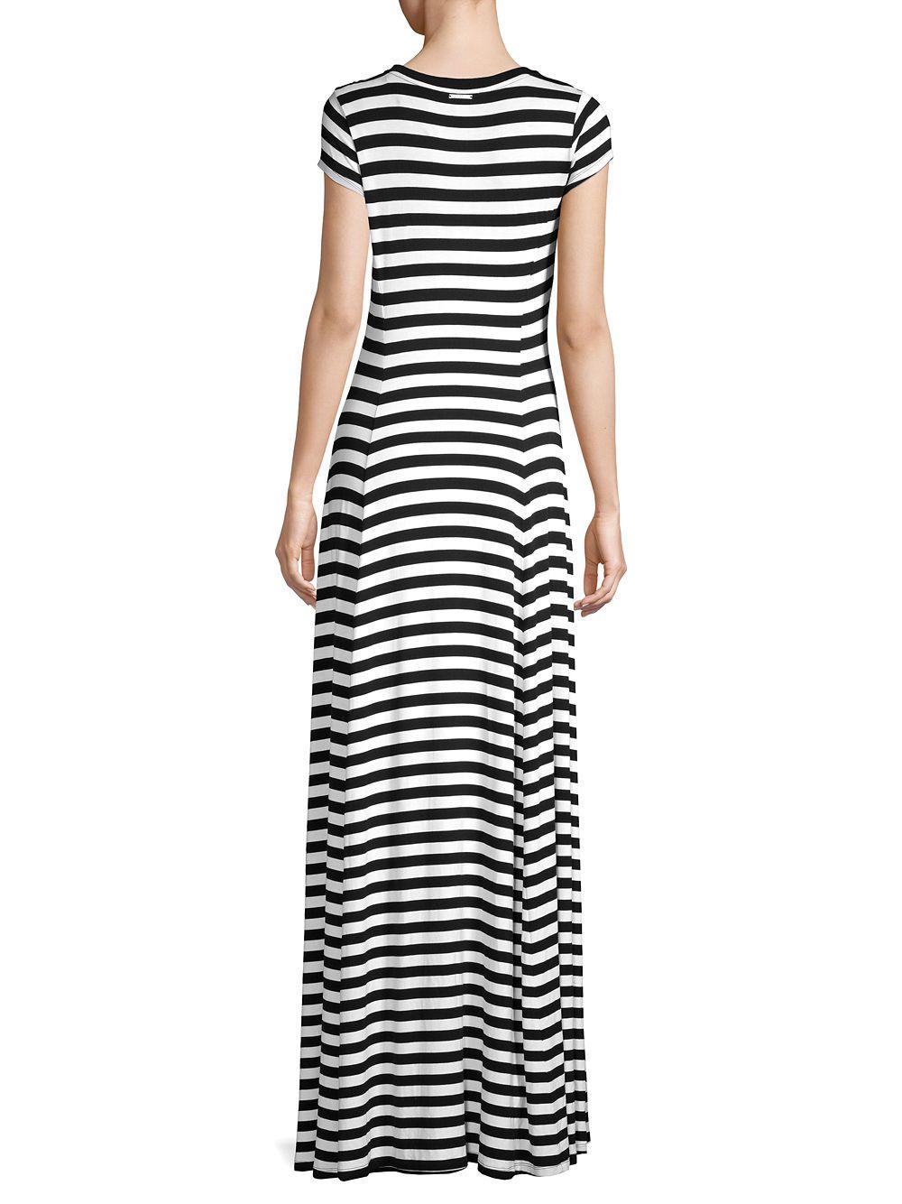 ee40ac9f72c1 MICHAEL Michael Kors - Black Striped T-shirt Maxi Dress - Lyst. View  fullscreen