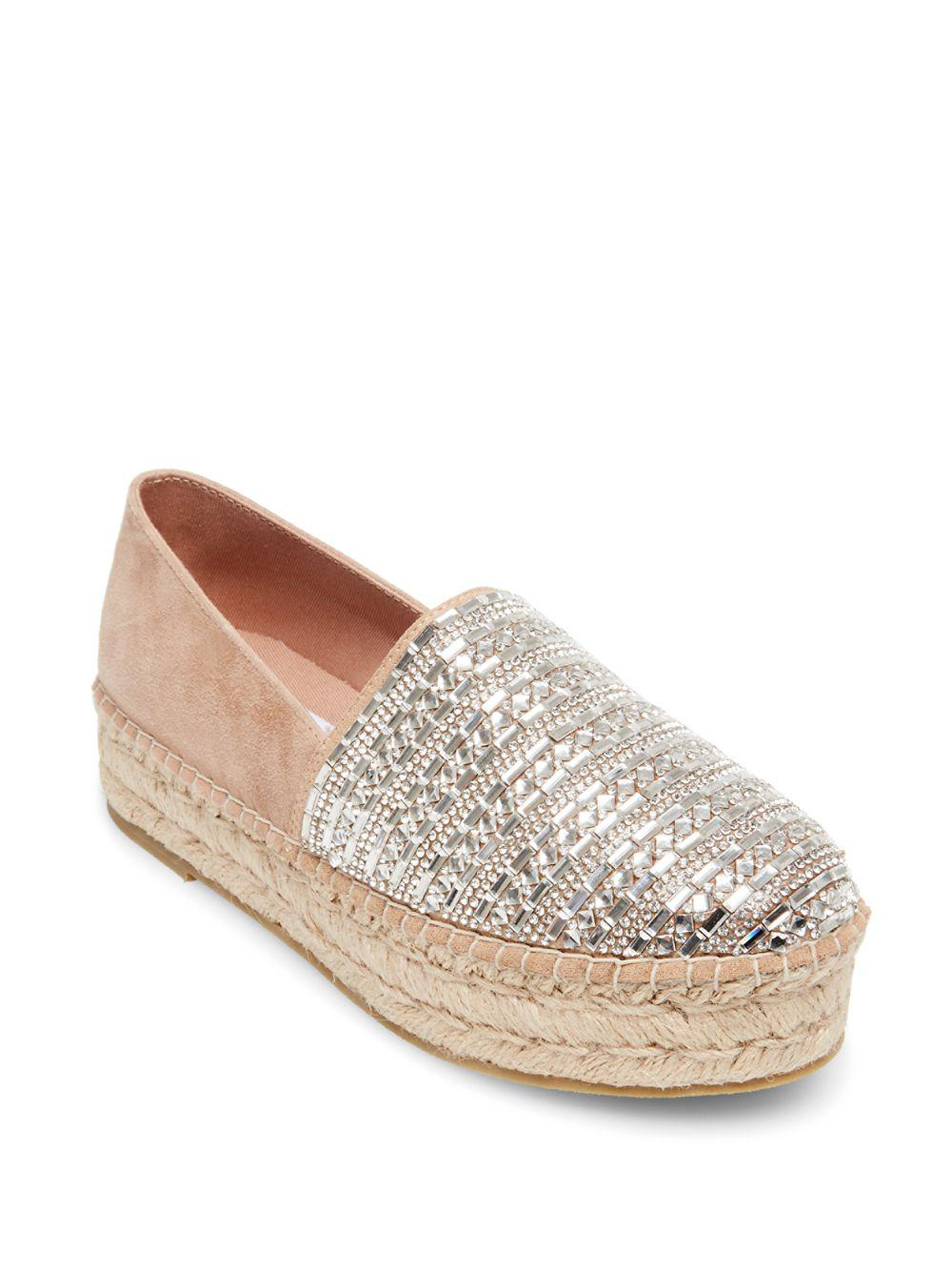 Proud Rhinestone Jeweled Suede Espadrille Slip Ons r0aklRje2