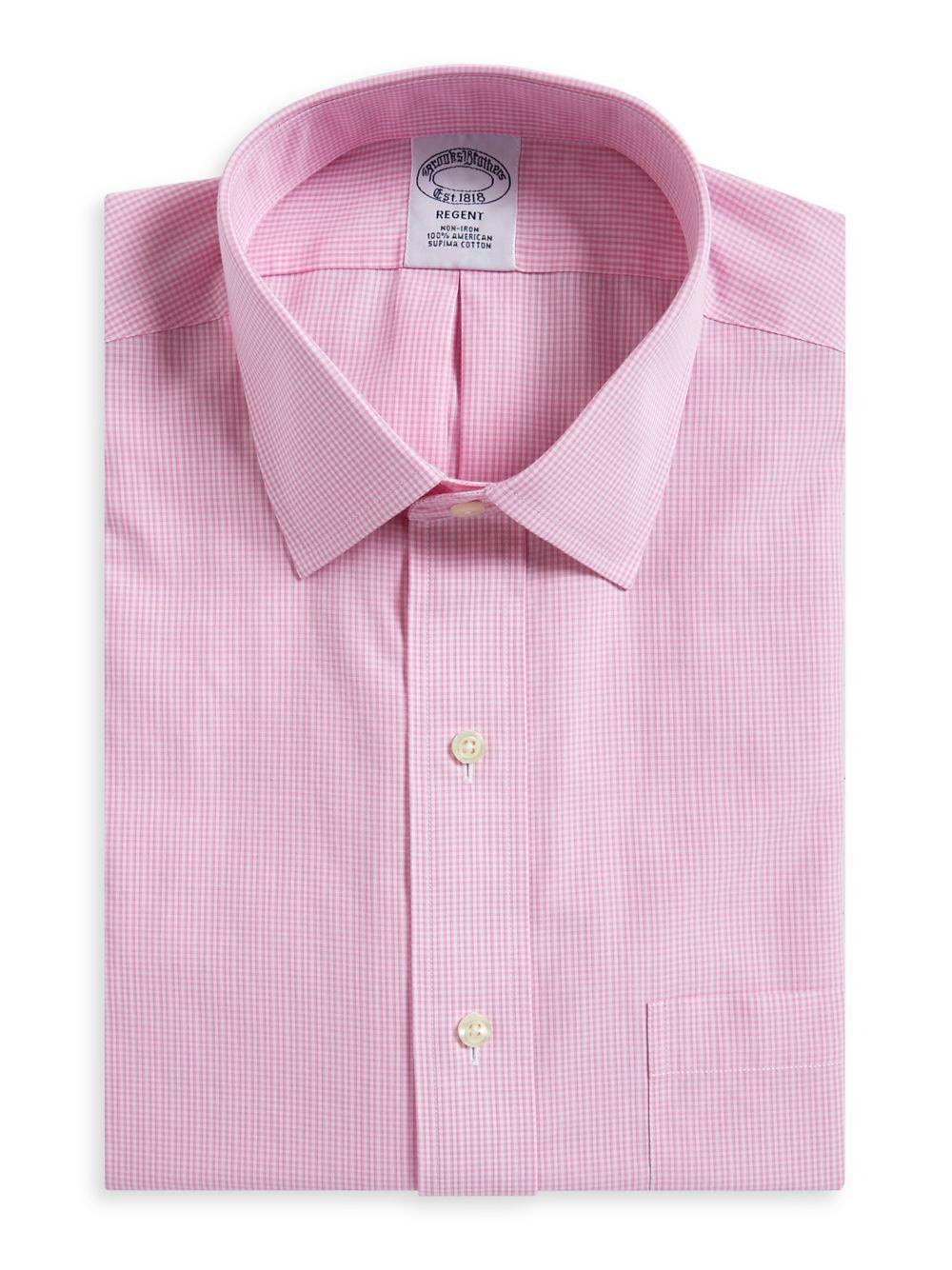 9d556217345 Lyst - Brooks Brothers Gingham Print Regent Fit Dress Shirt in Pink ...