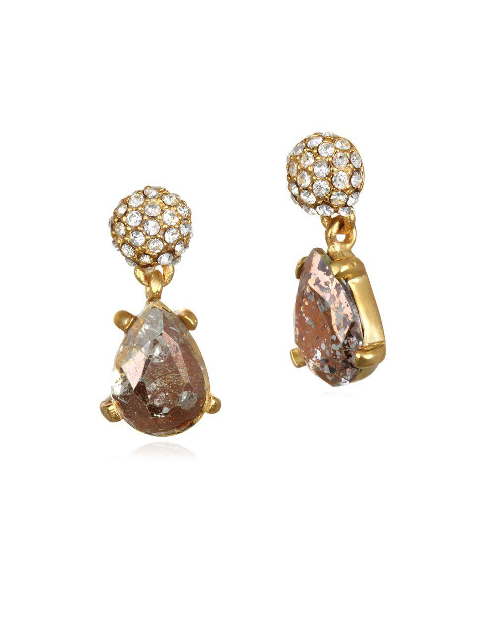 Badgley Mischka Women S Metallic Faceted Teardrop Earrings