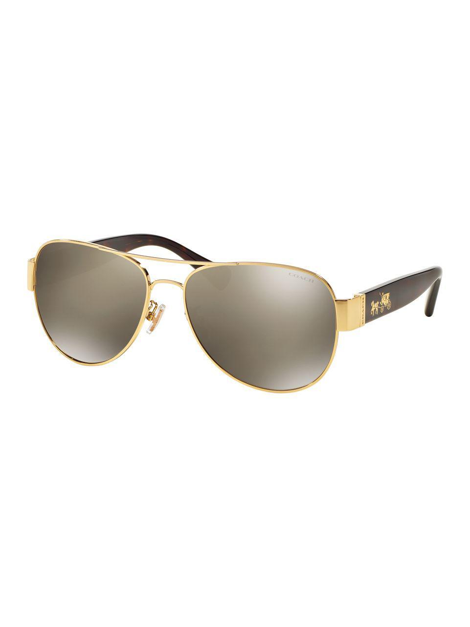 2bfd634d3a6 COACH - Metallic L138 58mm Aviator Sunglasses for Men - Lyst. View  fullscreen