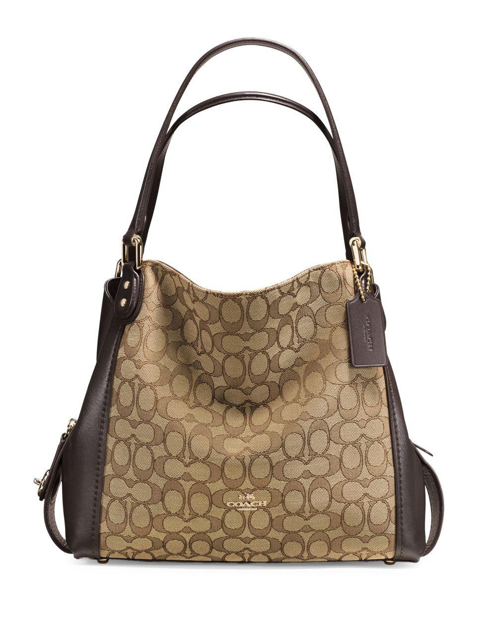 5856306fd6 Lyst - Coach Edie 31 Signature Jacquard Shoulder Bag in Brown